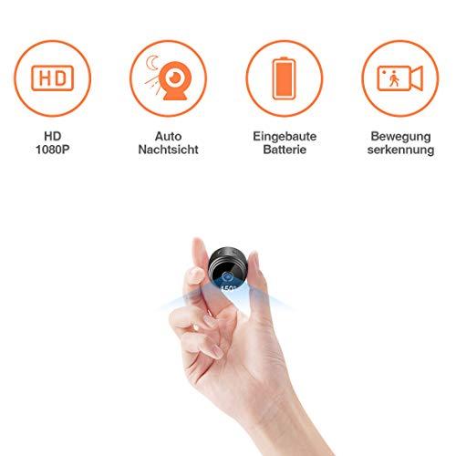 TODAYI Mini Kamera Klein Akku Überwachungskamera Innen HD Automatische Nachtsicht Minikamera mit Bewegungserkennung und Speicher Aufzeichnung Aussen...