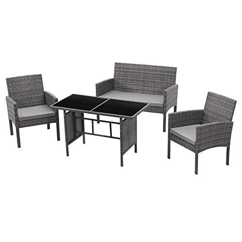 SVITA Brooklyn XL Polyrattan Essgruppe Lounge Garnitur Gartenmöbel Set Esstisch...