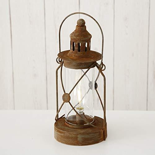 Bloominghome LED-Laterne Eisen braun gewischt H28 cm Vintage-Look