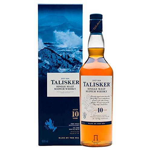 Talisker 10 Jahre Single Malt Scotch Whisky – Weicher, torfiger und rauchiger Whisky aus dem Norden Schottlands – In maritimer Geschenkbox –...
