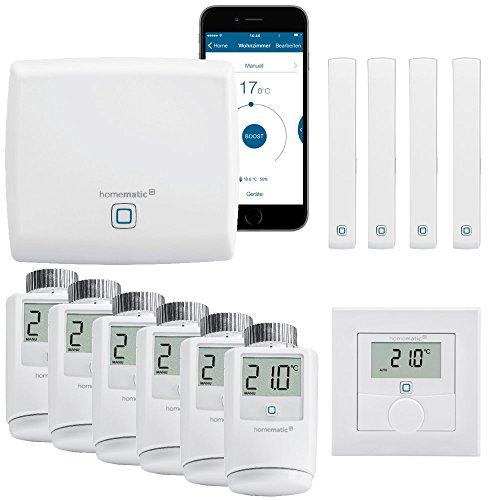 Homematic IP Funk Smart Home Heizungssteuerung Komplettpaket für 6 Heizkörper mit kostenloser Smartphone App. Inhalt: Zentrale, 6...