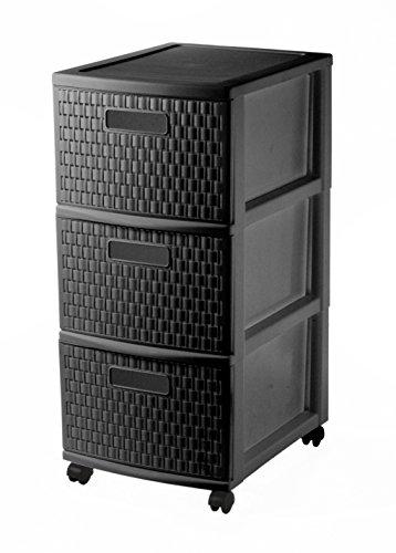 Sundis Country Rollcontainer mit 3  Schubladen in Rattan - Optik, Kunststoff (PP), schwarz, (38 x 30 x 65,5 cm)