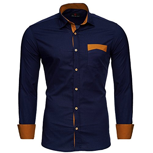 Reslad Men's Shirt Non-Iron Slim Fit Leisure Men Shirts Business Shirt Contrast Colorful Long Sleeves ...