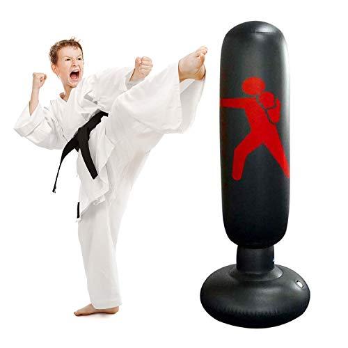 JanTeelGO Boxsack Kinder 160cm, Standboxsack für Sofortiges Zurückprallen zum Üben von Karate, Taekwondo und zur Entlastung von Pent Up Energy bei...