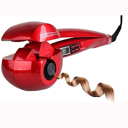 Double Beauty Automatischer Lockenstab Lockenwickler Curling Machine Haarpflege mit LCD Keramikbeschichtung Locken einstellebar (Rot)
