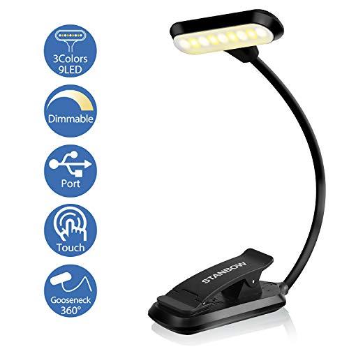 Leselampe Buch Klemme, STANBOW Touch Schalter Klemmlampe USB Wiederaufladbar, 9 LEDs Buchlampe mit 3 Farbtemperatur, 360° Flexibel Augenschutz Mini...