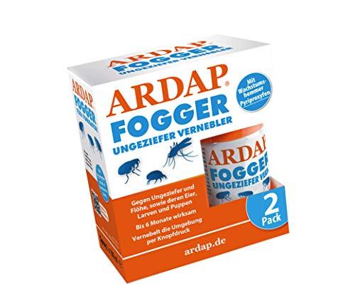 ARDAP Fogger 2 x 100ml - Effektiver Vernebler zur Ungeziefer- & Flohbekämpfung für Haushalt & Tierumgebung - für Räume bis 30m² - Wirksamer...