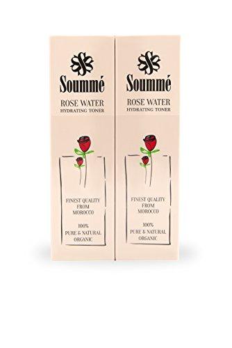 Soummé Rosenwasser - 100% biologisch, organisch & natürlich - 2 x 60 ml Pump Spray - (ganze 120ml) reinigend, pflegend und feuchtigkeitsspendend -...