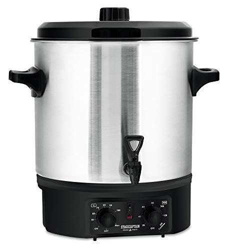 Stagecaptain GWK-27A Glühweinkocher - Einkochautomat mit 27 Liter - 2000 Watt - Gebürsteter Edelstahl - Einfache Bedienung (Temperatur und...