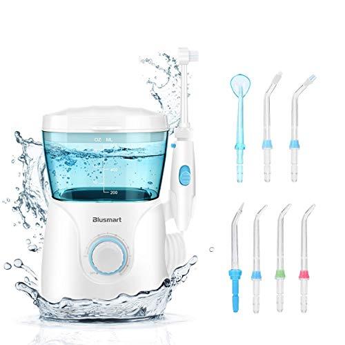 Blusmart Munddusche Elektrisch Professionelle Mundduschen 600ml Wassertank 10 Wasserdruck einstellungen Water Flosser 8 verschiedene Funktionsdüsen...