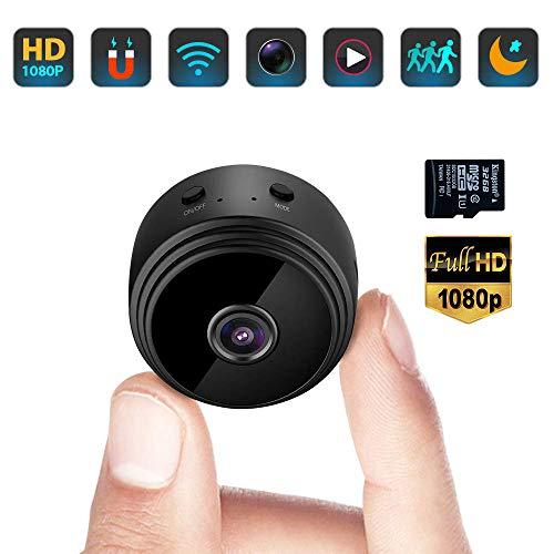 Mini Kamera, Full HD 1080P Tragbare Kleine WLAN Überwachungskamera Mikro Nanny Cam mit Bewegungserkennung und Infrarot Nachtsicht Compact Sicherheit...