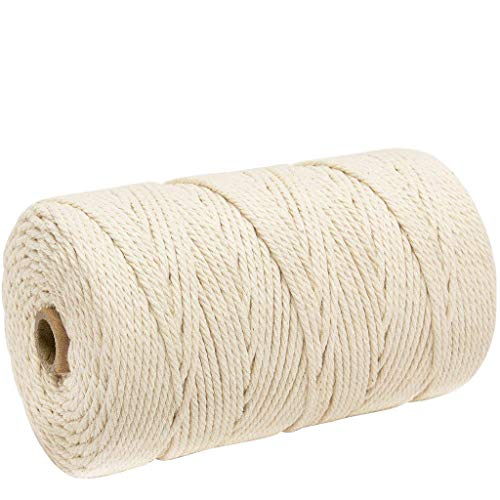 baumwollschnur baumwollseil Baumwollgarn kordelband baumwolle mit kern 5 mm x 50M Baumwollkordel Kordel grau makramee garn