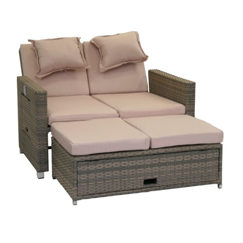 greemotion Rattan-Lounge Bahia Twin, Sofa & Bett aus Polyrattan, indoor &...