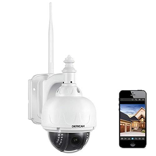 Dericam WLAN IP Kamera, Überwachungskamera Außenbereich, PTZ Kamera, 4 Fach...