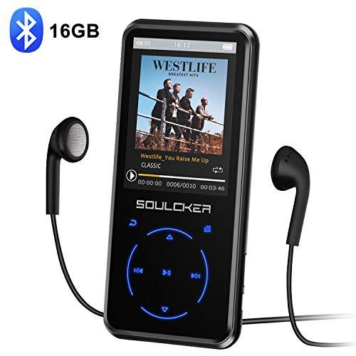 MP3 Player, 16GB Bluetooth MP3 Player mit Kopfhörer, MP3 Player Kinder mit Lautsprecher FM Radio Voice Recorder 2.4 Zoll TFT Bildschirm, Speicher...