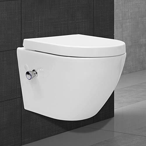 ECD Germany Spülrandloses Wand Hänge Dusch WC kurz aus Keramik mit Bidet-Funktion - Soft-Close Absenkautomatik Toilettensitz WC-Sitz Duroplast -...