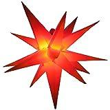 Außenstern mit LED 65 cm rot/gelb beleuchteter Stern Weihnachtsstern Faltstern,...
