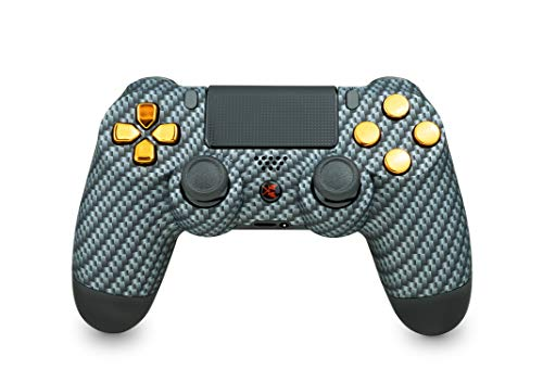 KING CONTROLLER® PS4 Controller mit Custom Design (carbon, chrom) - DualShock 4 - PlayStation 4 Pro Slim - Wireless PS4-Controller
