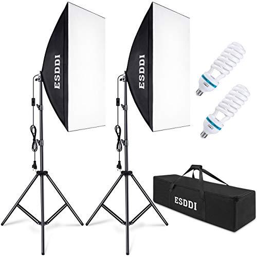 ESDDI Softbox Beleuchtungs Set 2X 50x 70 cm Studioleuchten Fotostudio-Leuchten...