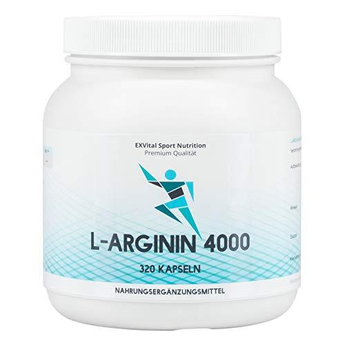 EXVital L-Arginin 4000 hochdosiert, 320 Kapseln in deutscher Premiumqualität,...