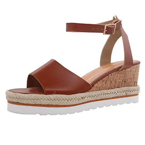 Sandalen Damen mit Absatz Offene Espadrille Sommer Keilabsatz Sandaletten Strandschuhe Party Strand Schuhe Damenschuhe Sommerschuhe Bluelucon