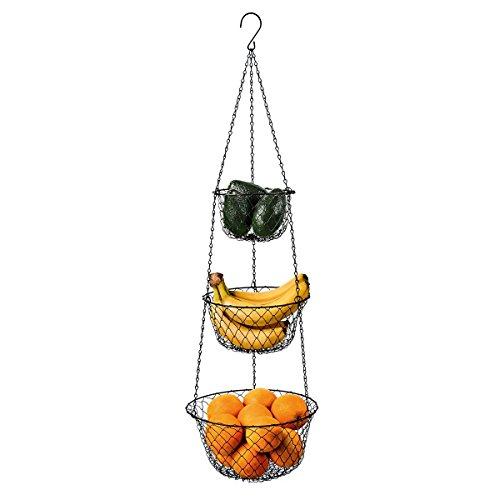 Malmo 3-stöckiger Hängekorb, Obstkorb zur Aufbewahrung in der Küche, schwarz