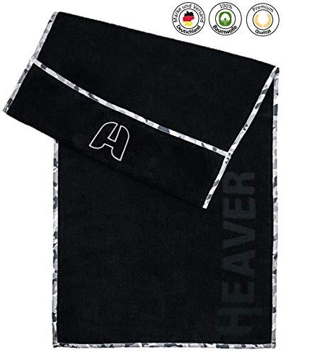 HEAVER® Fitnesshandtuch für das Gym/Das Sporthandtuch mit Antirutsch Fixierung...