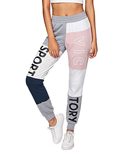 DIDK dames joggingbroek knippen en naaien sportbroek joggingbroek kleurenblok met elastische tailleband broek casual broek sport roze M