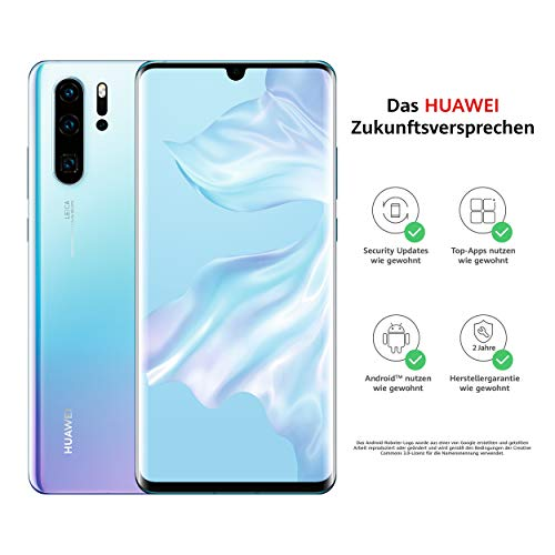 HUAWEI P30 Pro Dual-SIM Smartphone Bundle (6,47 Zoll, 128 GB ROM, 8 GB RAM, Android 9.0) Breathing Crystal + USB-Adapter [Exklusiv bei Amazon] - DE...