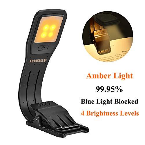 Leselampe Buch Klemme OMOUP Buchlampe LED Leselampe, Augenpflege Warmen Licht mit 4 Helligkeitsstufen, USB Wiederaufladbar, Leselicht Leselampen für...