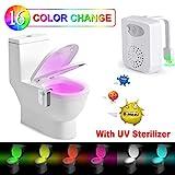 Toilette Licht –Rantizon LED Toilette Nachtlicht mit UV-Desinfektion Licht, WC Licht mit Bewegungsmelder und Wasserdicht, 16 Farbe Veränderung und...
