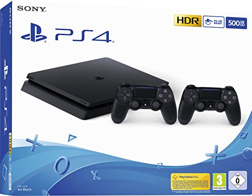 PlayStation 4  - Konsole (500 GB, schwarz, slim, F-Chassis) inkl. 2 DualShock 4 Controller