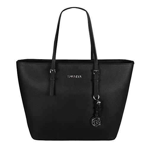 Tom & Eva TE-Jet Set Bag Kvinner Shopper Skulderveske Svart Stor ...