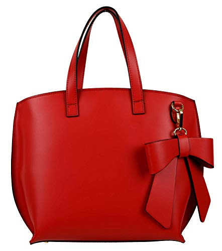 Shirin Sehan Ladies Leather Genuine Leather Handbag Handle Bag Shoulder Bag Molina Red Bow Made in ...