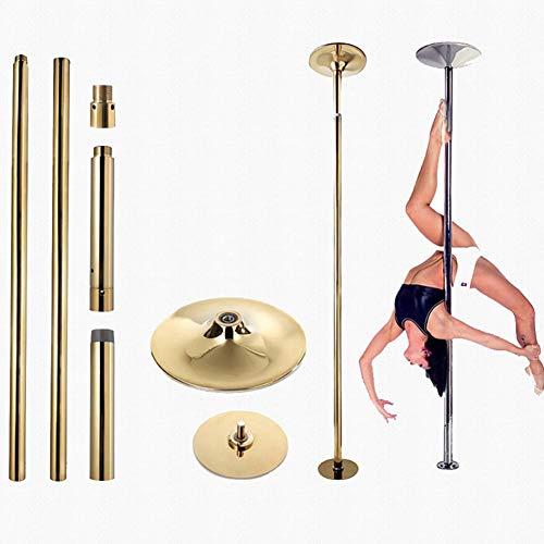 EASOUG Golden Profi Tanzstange,Strip Stange Static & Spinning,höhenverstellbar 2.3-2.75m, 45 mm Pole Dance für 2 Pers, KEIN Bohren