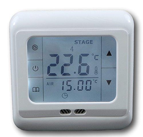 SM-PC®, Raumthermostat Thermostat programmierbar Touchscreen Digital weiß #832