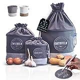 Glückstoff Aufbewahrungsbox 3er-Set aus Stoff [Nachhaltig] Kartoffel Zwiebel...
