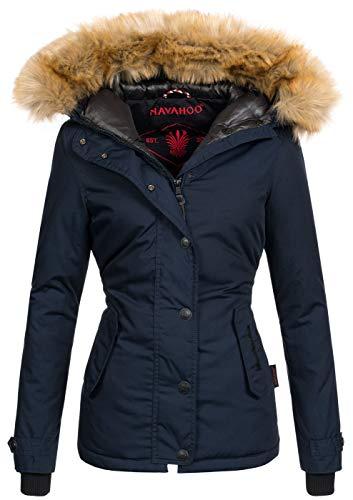 Navahoo warme Damen Winter Jacke Winterjacke Parka Mantel Kunstfell B392...