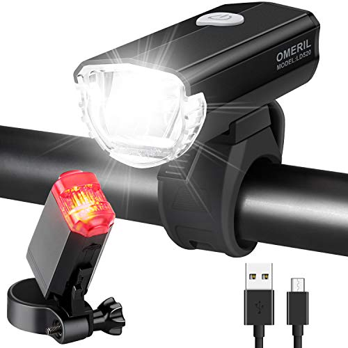 OMERIL Fahrradlicht Set Aluminium LED Fahrradlichter StVZO-Zulassung Fahrradbeleuchtung USB Aufladbar und Wasserdicht Fahrradlampe LED mit Frontlicht...