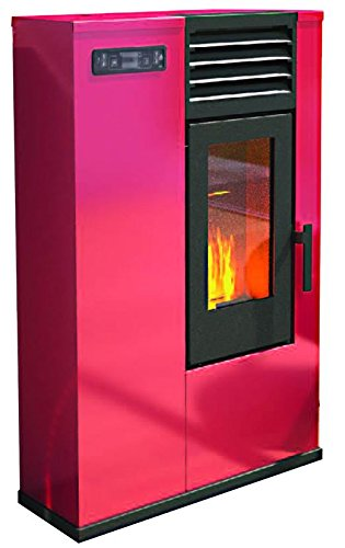 Eva Stampaggi 98017-10 Susy Slim Pelletofen mit Feuerstelle, 7,5kW, Rot