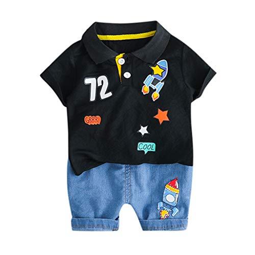 Shorts Allence S/äugling Babykleidung Neugeborene Bekleidungssets Jungen Gentleman Spielanzug Krawatte Denim Strampler Kurzarm Shirt