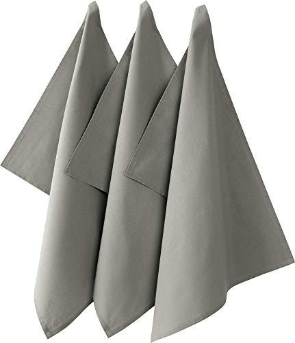 REDBEST Geschirrtuch, Küchentuch 3er-Pack Seattle, 100% Baumwolle grau Größe 50x70 cm - saugstarke, strapazierfähige Qualität, mit Aufhängung...
