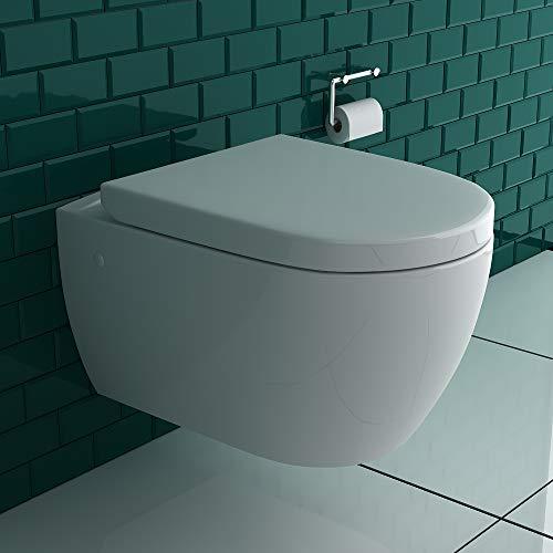 Alpenberger Hänge-Dusch-WC integrierter Bidet-Taharet Funktion mit verstellbarer Edelstahlkopfdüse + Abnehmbarer D-Form WC-Sitz inkl....