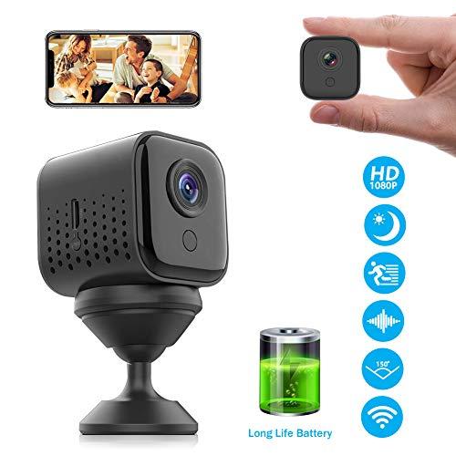 Mini Kamera, FHD 1080P Überwachungskamera Mini WiFi WLAN Kamera Kleine Tragbare Kabellose 300 Minuten Haltbar mit Nachtsicht, Bewegungserkennung,...