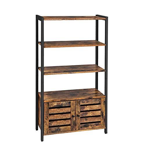 VASAGLE Bücherschrank, Kommode Schrank, Bücherregal im Industrie-Design mit 3 Ablagen, 2 Lamellentüren, Wohnzimmer, Arbeitszimmer, Schlafzimmer, 70...