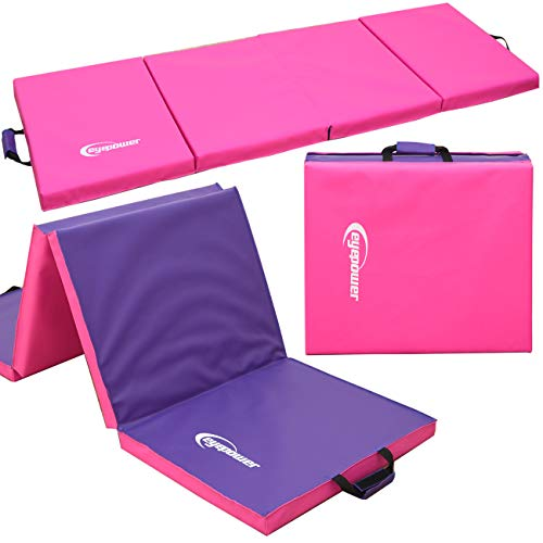 EYEPOWER 200x60 Turnmatte für Zuhause - Klappbar - 5cm Gymnastikmatte - Kinder Weichbodenmatte Pink