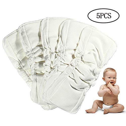 Earthtopia Set of 5 Washable Hemp and Cotton Nappy Liners Natural Booster Insert for Cloth Nappies
