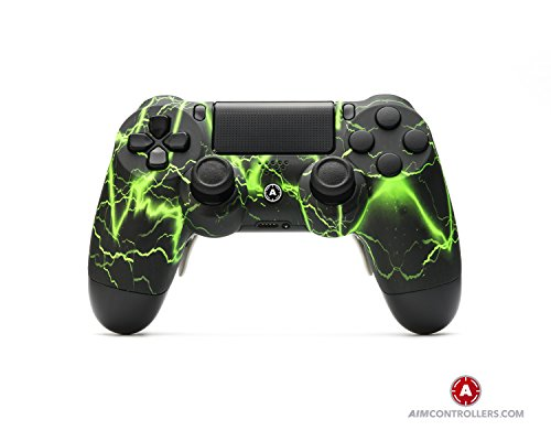 PS4 Slim DualShock 4 PlayStation 4 Wireless Controller - Custom AimController Storm Green with 4 Paddles. Upper Left Square, Lower Left X, Upper Right...