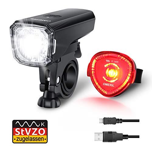 Fahrradlicht Set, OMERIL Fahrrad Licht StVZO Zugelassen Fahrradbeleuchtung LED Wasserdicht USB Aufladbar Fahrradlichter Fahrradlampe mit Frontlicht...