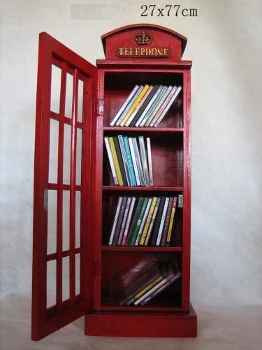 Retro Vintage Aufbewahrungsschrank/CD-DVD Speicherschrank'Telefonzelle' - rot
